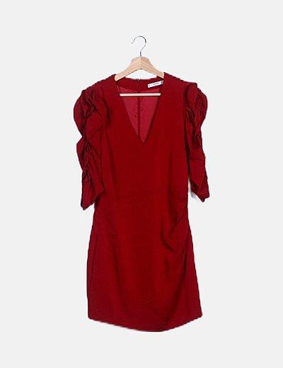 Vestido rojo mangas abullonadas