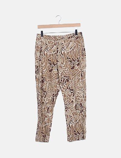 Pantalón estampado marrón