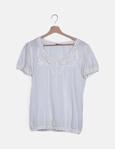 Blusa globo blanca drapeada