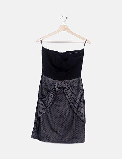 Vestido mini negro plumetti