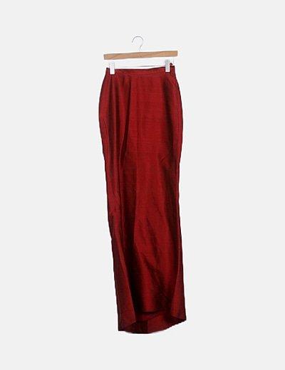 Conjunto top y falda rojo irisado