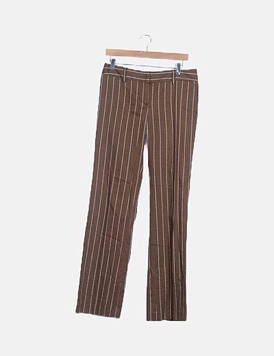 Pantalón fluido marrón de rayas