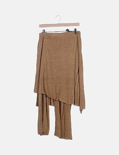 Falda pantalón punto camel