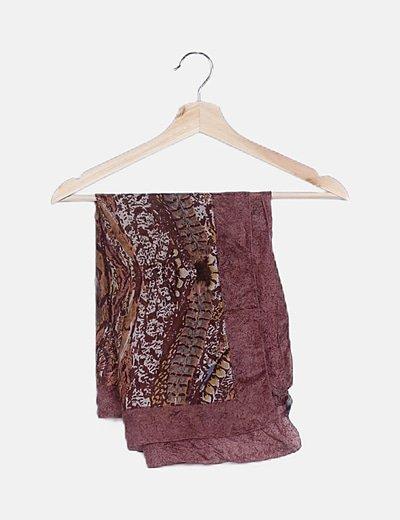 Pañuelo seda estampado rosa