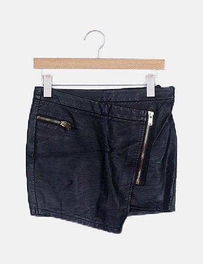 Falda mini polipiel negra con cremallera