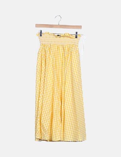 Falda maxi cuadro vichy amarillo