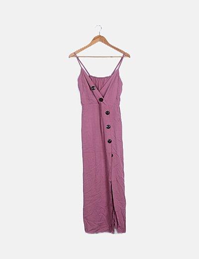 Vestido maxi rosa abotonado