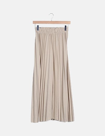Pantalón plisado beige