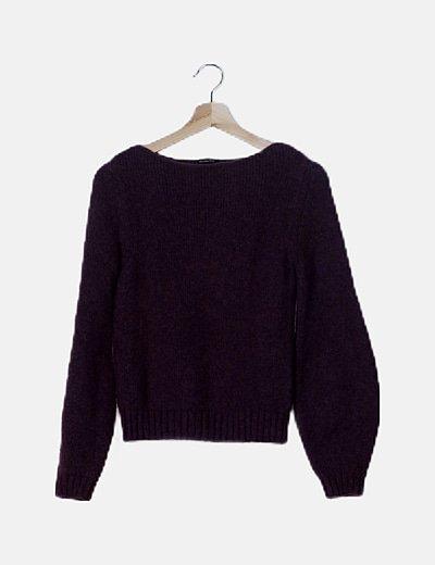 Jersey tricot morado cuello redondo