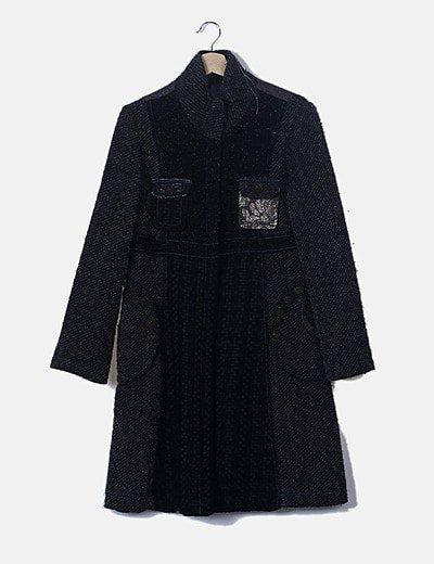 Abrigo texturizado glitter negro