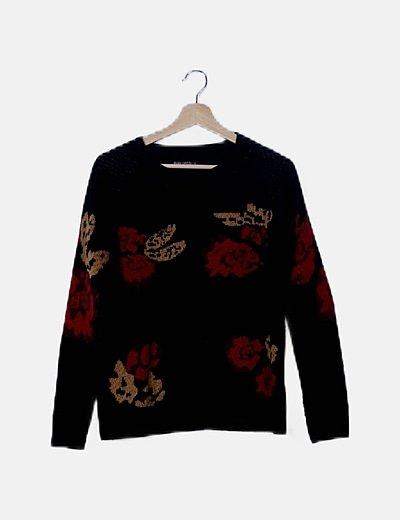 Jersey negro print floral