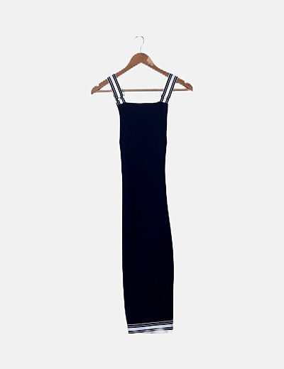 Vestido azul marino abertura