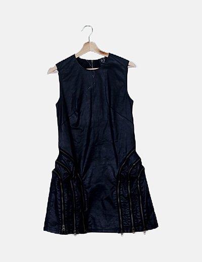 Vestido polipiel negro sin mangas