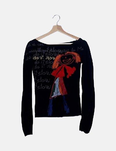 Camiseta negra estampado girl