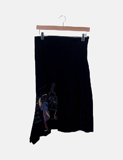 Falda print negra asimétrica