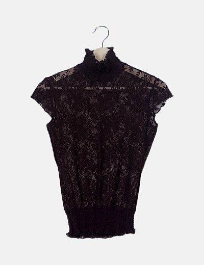 Blusa marrón detalle elástico