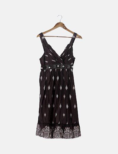 Vestido khaki estampado con paillettes