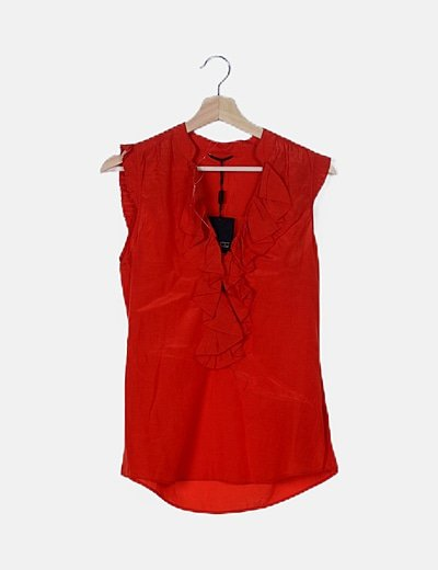 Blusa roja escote drapeado