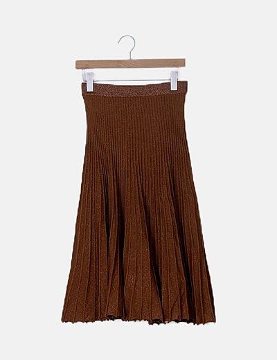 Falda plisada marrón glitter
