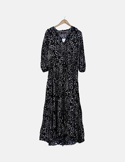 Vestido camisero maxi negro estampado