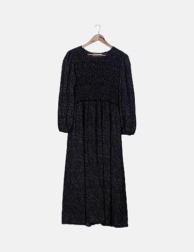 Vestido maxi negro estampado