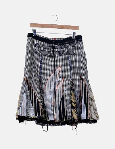 Falda combinada bicolor cuadro vichy