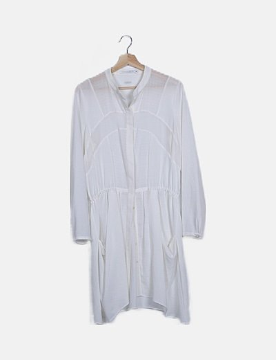 Vestido fluido blanco manga larga