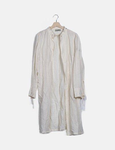Kimono blanco roto lino