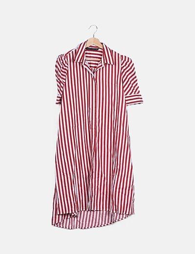 Vestido camisero rayas rojas