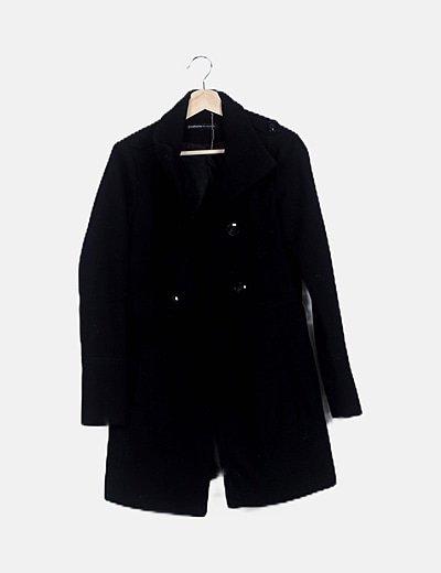 Chaquetón paño negro manga larga