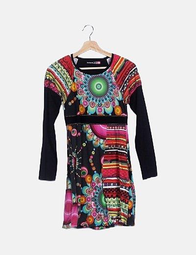 Vestido mini estampado multicolor