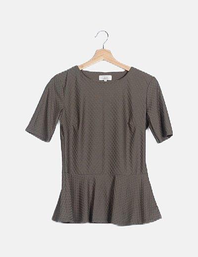 Camiseta peplum texturizado