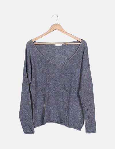 Jersey tricot gris detalle glitter