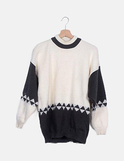 Jersey lana blanco y gris