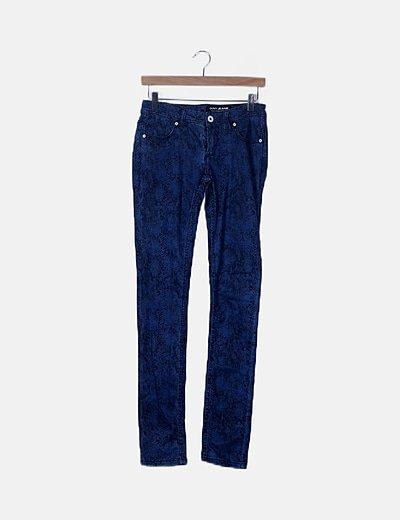 Jeans denim pitillo animal print