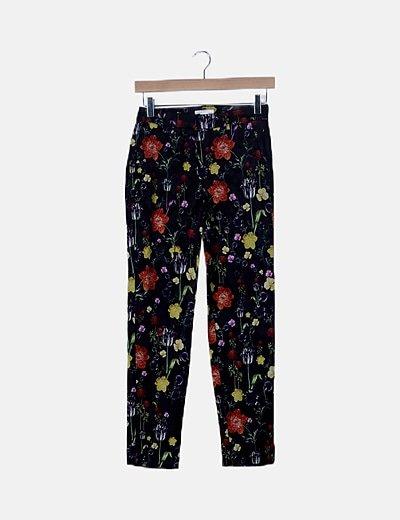 Pantalón chino negro floral