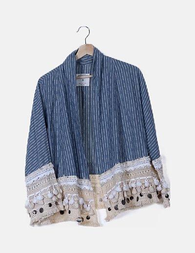 Kimono boho azul
