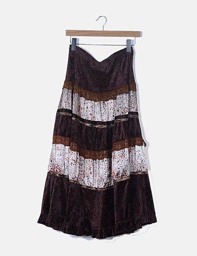Falda marrón texturizada print floral