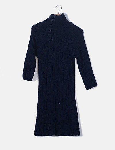 Vestido tricot azul cuello alto