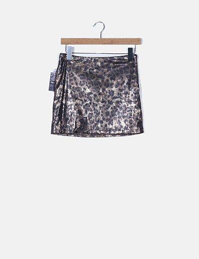 Falda animal print con paillettes
