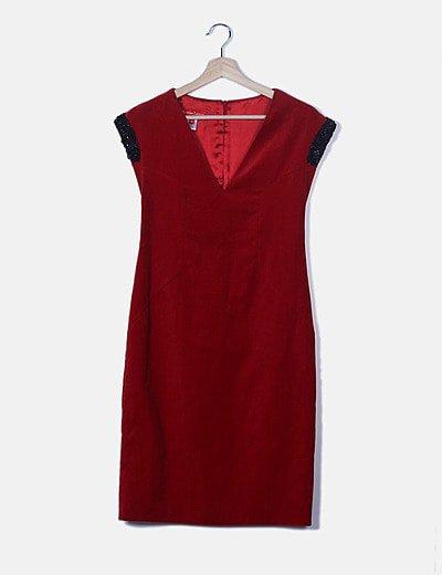 Vestido velvet rojo con strass