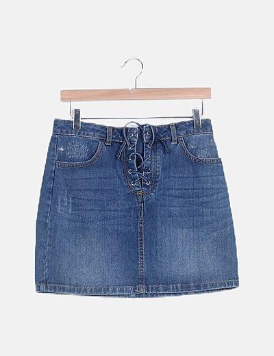 Mini falda denim lace