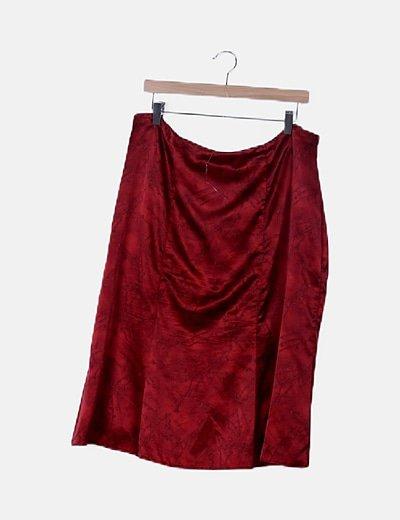Falda midi roja satinada print floral