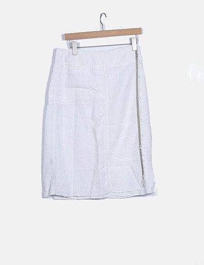 Falda midi blanca raya lateral