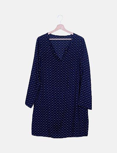 Vestido midi azul marino estampado