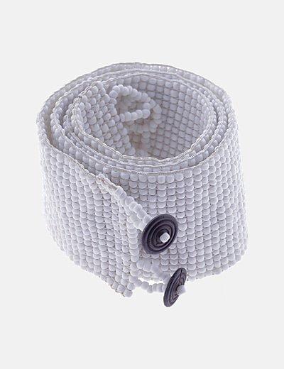 Cinturón ancho cuentas blancas