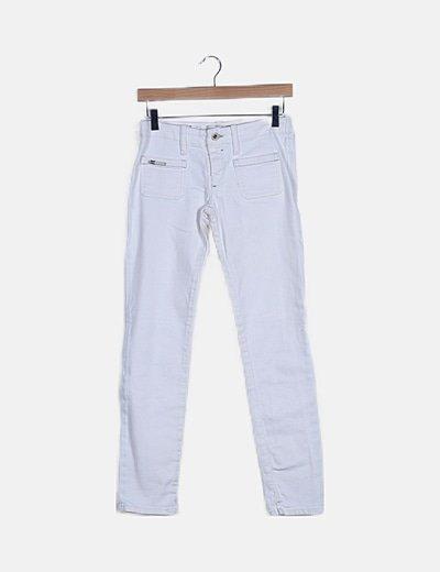 Jeans denim pitillo blanco