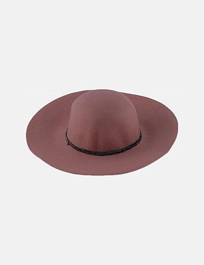 Sombrero fieltro nude con abalorios