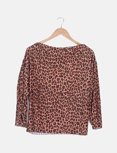 Blusa marrón estampado animal print