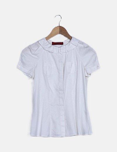 Camisa blanca manga corta con volante